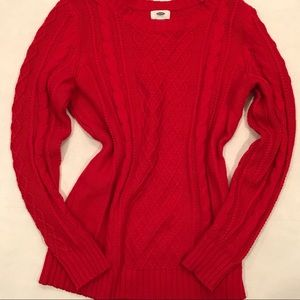 Old Navy Red Cable Knit Sweater Size Large Tall